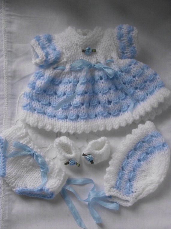 Hand Knitted  dolls / reborn clothes set in white / blue to fit 12 inch baby doll / reborn
