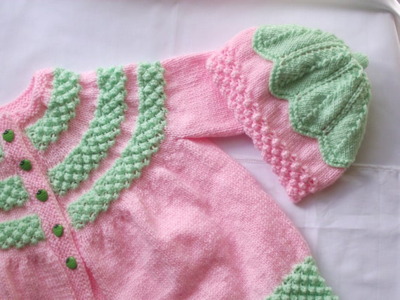 hand knitted baby cardigan / jacket and matching hat / bonnet pinks/ greens /strawberry buttons