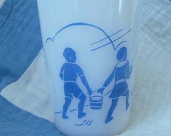 Jack and Jill Went Up the Hill...to fetch a milk glass of water -- Hazel Atlas -- Vintage Nursery