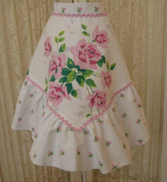 Pink Roses Half Apron--- Vintage Wilendur---OOAK