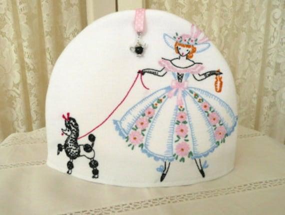 Pink Tea Cozy--- Prancing Poodle and Lady---Vintage Fabric---OOAK