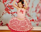 Lace skirt Tutu Tube top and MINI tOpHaT  Sizes 4T 5/6 YOU choose Colors