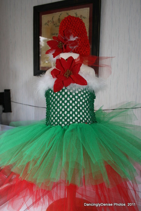 CHRISTMAS Baby TuTu Dress and Hat Little Elf  Poinsetta Size 6 month-2t
