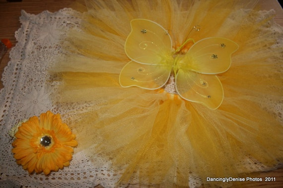 READY to SHIP BaBy Tutu, Wings and Headband YeLLoW CoLoRs Baby Shower Gift
