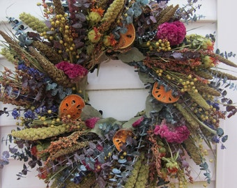 Dried Flower Wreath With a Mix of Naturally Colorful Flowers