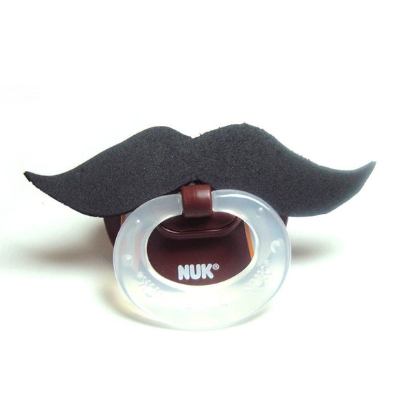 Black Mustache football pacifier 0 to 6  months
