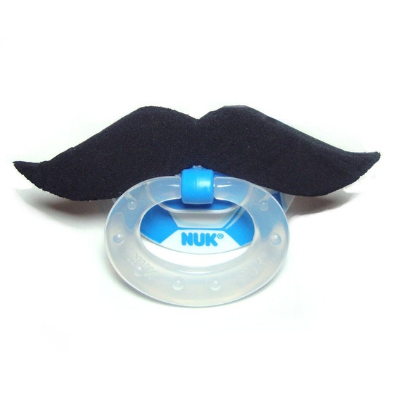 Black Mustache soccer pacifier 0 to 6 months