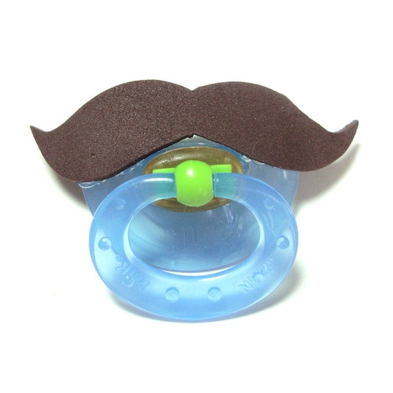 Brown Mustache pacifier 0 to 6 months