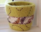 Reusable Coffee Cup Sleeve - Coffee Cup Cozy - Lemongrass - Butterflies