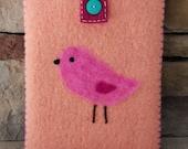 Wool Felted Pouch - Pink Bird