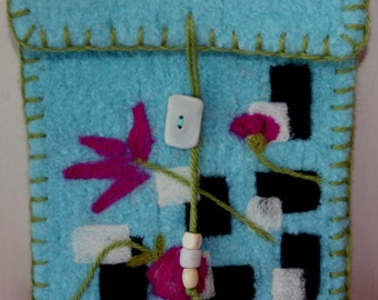 Felted Wool Pouch - Flowers