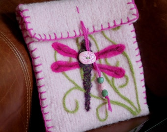 Wool Felted Pouch - Dragonfly