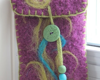 Wool Felted Pouch - Swirls