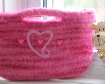 Wool Felted Clutch Purse - Pink Hearts - pink buttons