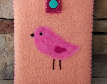Wool Felted Pouch - Pink Bird