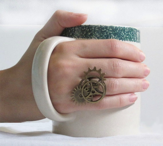Steampunk Brass Gears and Cogs Ring
