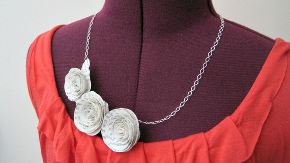 Asymmetrical Book Page Flowers Necklace
