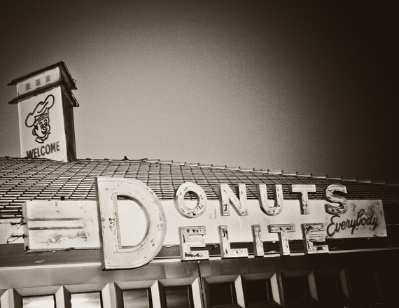 Donuts Delight Retro wall art old vintage sign donut shop