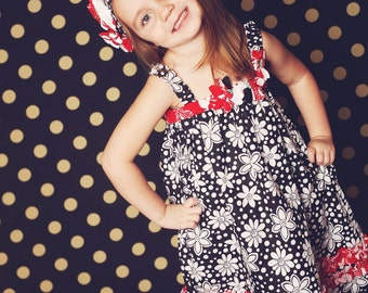 Baby, Toddler Girls Sewing Pattern Dress with Flowers and Head Band (pdf pattern), Easy Sun Dress