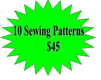 10 Sewing Patterns Girls Dress- Any 10  Patterns in my Shop for 45- Offer ends soon