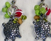 turtle earrings green melon red color beads wood beads silver lined, cube and round, pewter turtle charm drop and dangle style