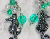 seahorse earrings ocean blue green teal aqua color beads pearlescent beads drop and dangle style