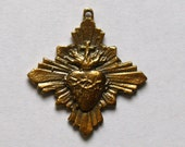 Sacred Heart Medal in Brass--Replica of Antique French Medal