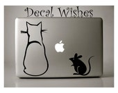 Macbook Decal Cat and Mouse Vinyl Laptop Decal Removable Macbook Sticker