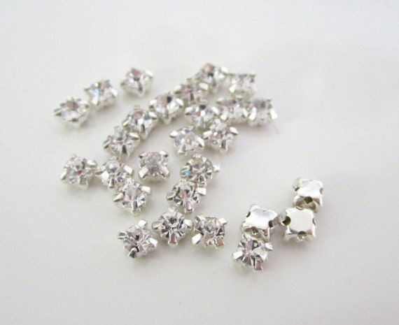 3mm Sew on Glass Rhinestones. 3mm glass Buttons.  150 Pcs