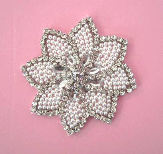 Rhinestone Flower Applique with White Pearls -- 1 pc