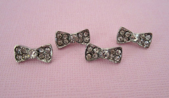 Bow Rhinestone Button Bridal Formal Fashion Wear -- 4 pc