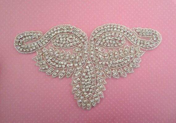 Rhinestone Applique Large for Bridal wear, Formal Wear --1 pc