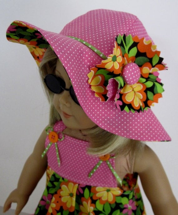 American Girl Doll Clothes  - Sundress and Hat in Bright Floral and Pink  Dot