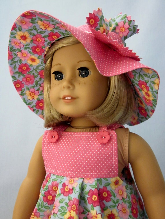 American Girl Clothes  - Sundress and Hat in Pink Floral and Dot