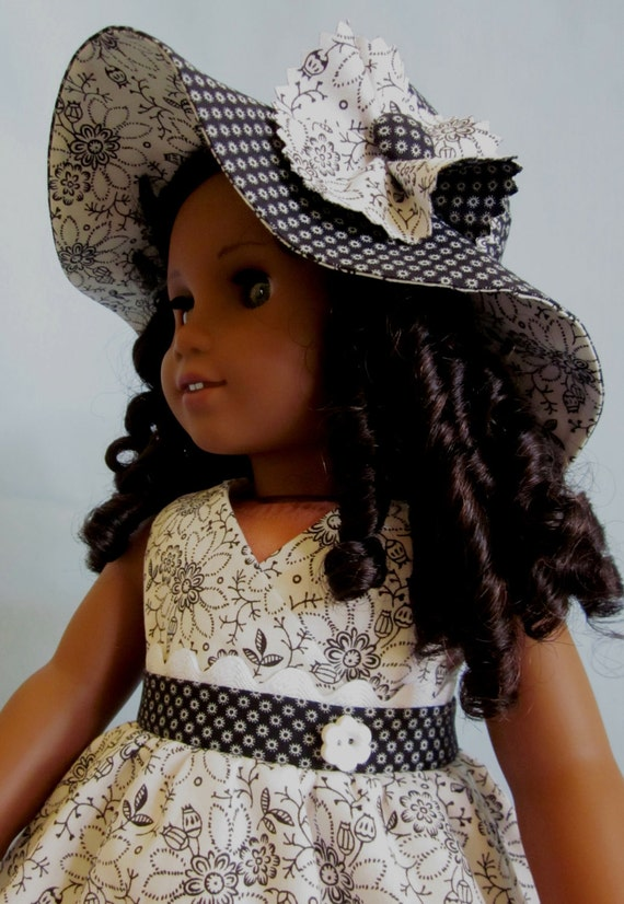 American Girl Clothes  - Crossover Bodice Dress and Hat in Black and White Print