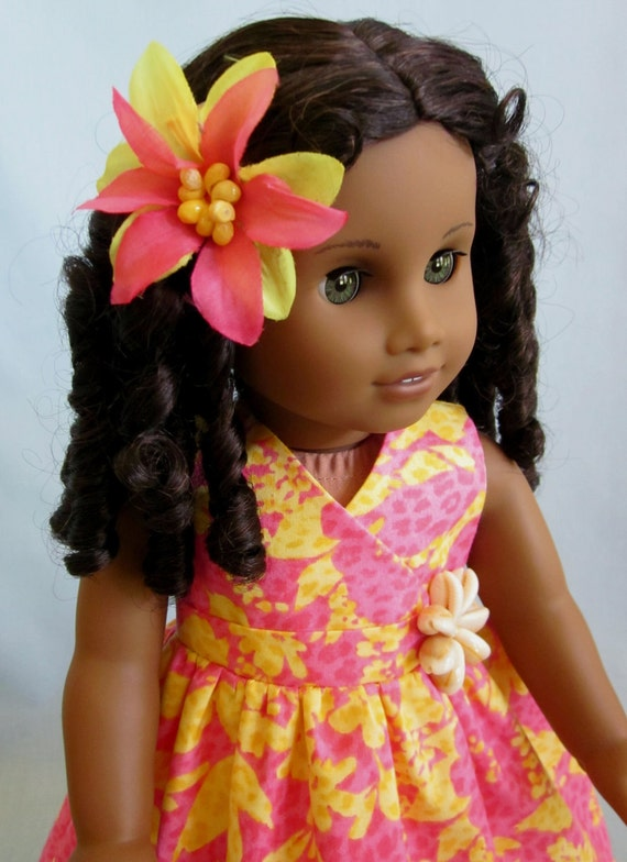American Girl Clothes  - Tropical Print Dress in Pink and Yellow