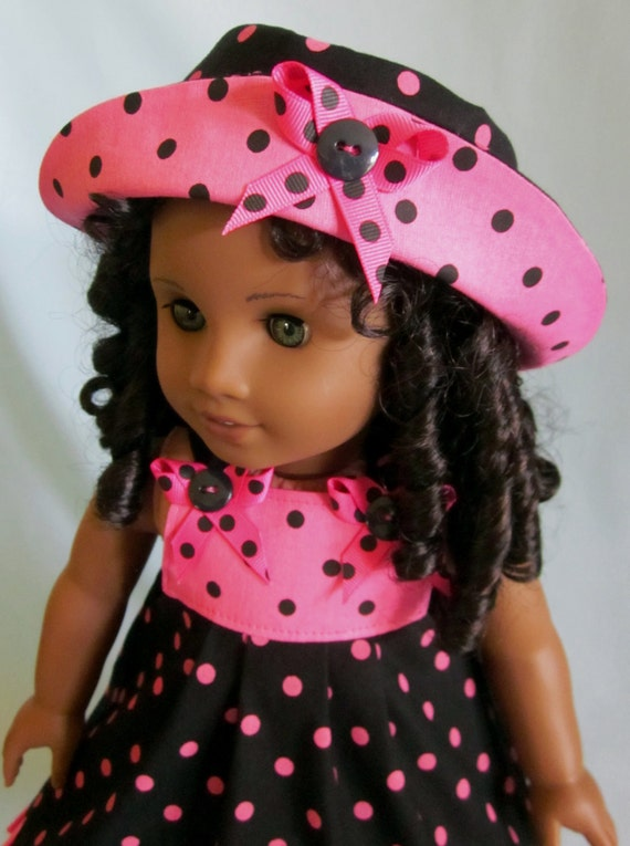 American Girl Clothes - Sundress and Hat in Black and Pink Dots
