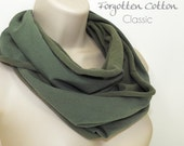 SALE Jersey Infinity Scarf Olive Green Two Tone Circle Loop Cowl