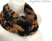 Infinity Scarf Cowl Black with Brown Design Abstract Cowl