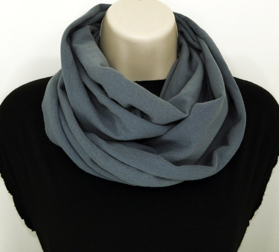 Grey Infinity Cowl Scarf Dark Gray Circle Scarf Womens Cowl