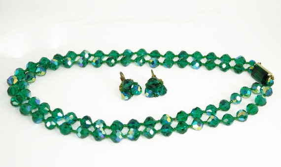 Vintage Statement Necklace Austrian Crystal Earrings Set