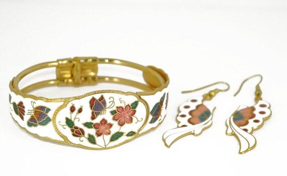 Vintage Enamel Cloisonne Clamper Bracelet and Earring Set