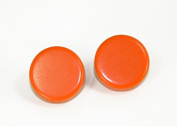 Orange Button Earrings Vintage Small Round Tangerine