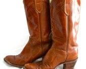 Vintage 70's Tony Lama Black Label Toffee Brown Leather Boots Sz 6A - Knee High with Stacked Heel