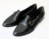 Vintage Black Leather Buckle Loafers Sz 9.5N