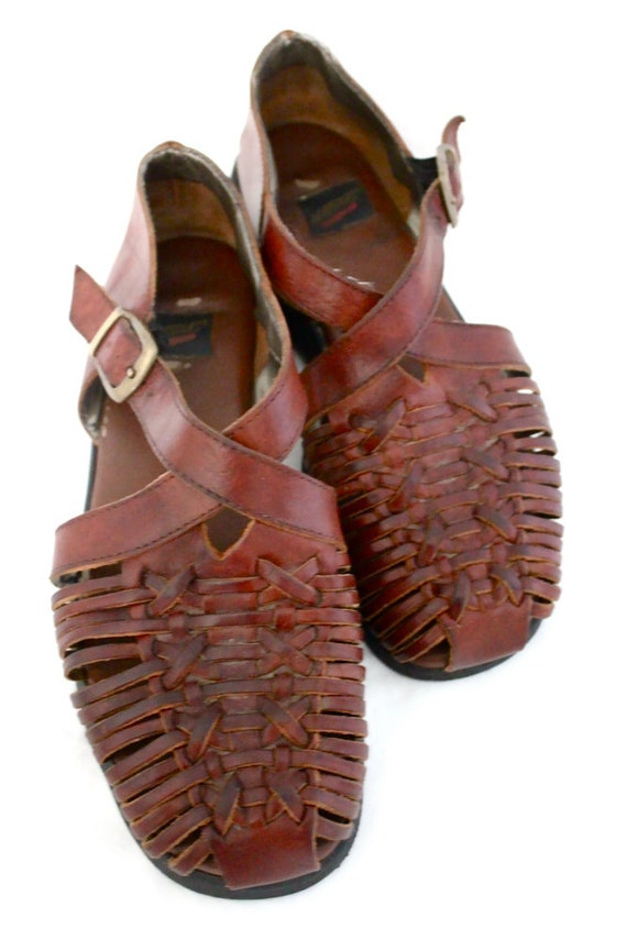 Vintage 80's Dark Bourbon Leather Huarache Sandals Sz 7.5B