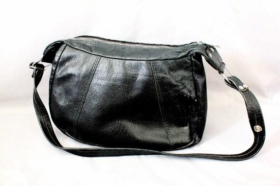 Vintage 70's Black Leather Handbag
