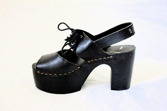 Vintage 80's Club Kid Corset Platform Heels Sz 5