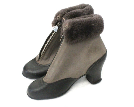 Vintage 30s/40s Gray Fur Trim Rubber Pull Over Winter Boots Overshoes Sz 6-6.5