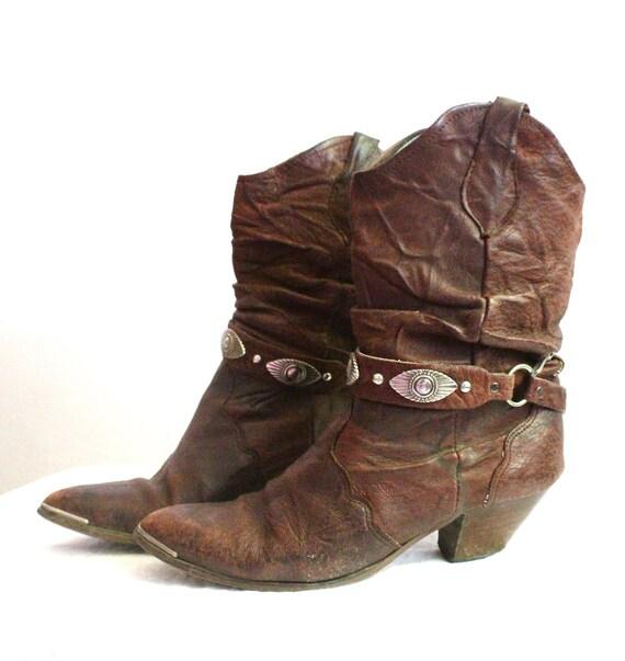 Vintage Rustic Oxblood Leather Cowboy Boots Sz 8.5